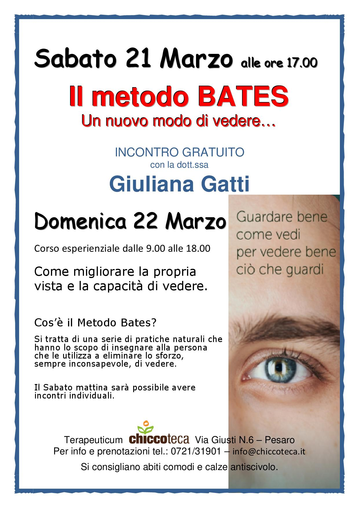 Conferenza gratuita, incontri individuali e corso esperienziale sul metodo BATES con la Dott.ssa Giuliana Gatti